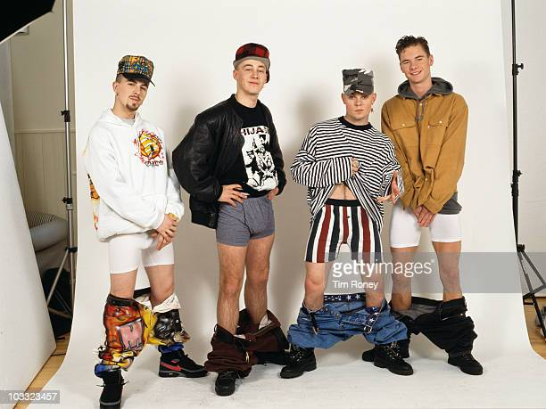 English boy band East 17 with their trousers around their ankles circa 1994 From left to right Terry Coldwell John Hendy Brian Harvey and Tony...