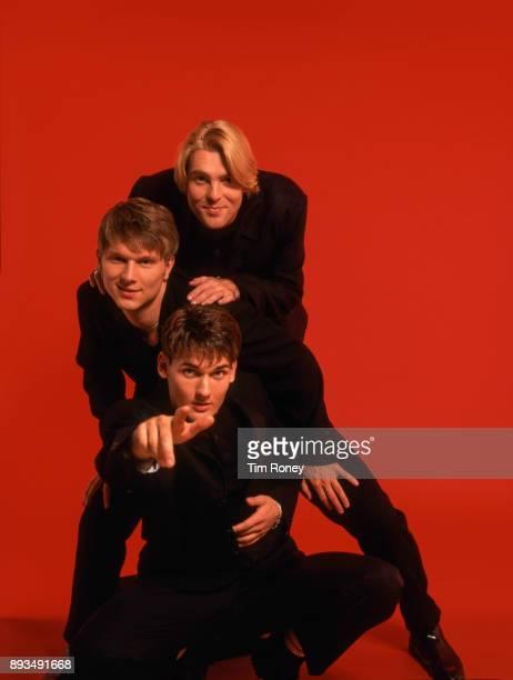 English boy band Let Loose studio portrait United Kingdom 1995 Top to bottom Rob Jeffrey Richie Wermerling Lee Murray