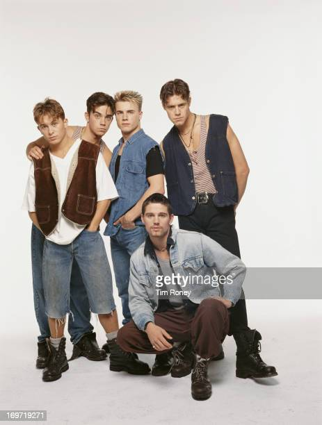 English boy band Take That circa 1992 Left to right Mark Owen Robbie Williams Gary Barlow Jason Orange and Howard Donald