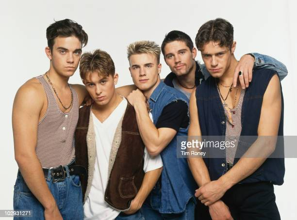 English boy band Take That circa 1992 Left to right Robbie Williams Mark Owen Gary Barlow Jason Orange and Howard Donald