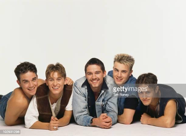 English boy band Take That circa 1992 Left to right Robbie Williams Mark Owen Jason Orange Gary Barlow and Howard Donald
