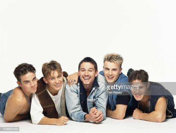 English boy band Take That circa 1992 Left to right Robbie Williams Mark Owen Jason Orange Gary Barlow and Howard Donald