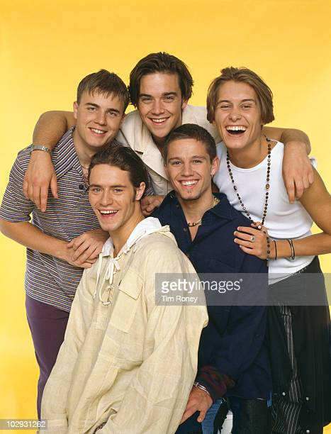 English boy band Take That circa 1993 Clockwise from top left Gary Barlow Robbie Williams Mark Owen Jason Orange and Howard Donald