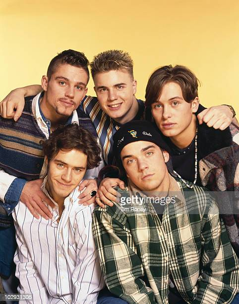 English boy band Take That circa 1993 Clockwise from top left Jason Orange Gary Barlow Mark Owen Robbie Williams and Howard Donald