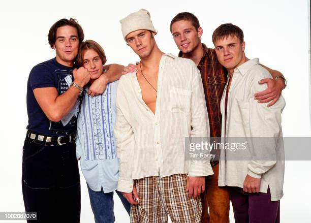 English boy band Take That, circa 1994; from left to right: Robbie Williams, Mark Owen, Howard Donald, Jason Orange, Gary Barlow.