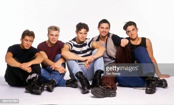 English boy band Take That, portrait, United Kingdom, 1992. Mark Owen, Gary Barlow, Jason Orange, Howard Donald, Robbie Williams.