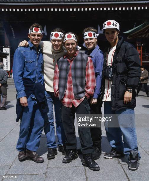 English boy band Take That visit Japan circa 1995 From left to right Jason Orange Howard Donald Mark Owen Gary Barlow Robbie Williams circa 1995