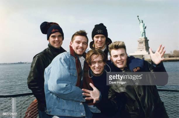 English boy band Take That visit New York circa 1995 From left to right Robbie Williams Jason Orange Mark Owen Howard Donald and Gary Barlow