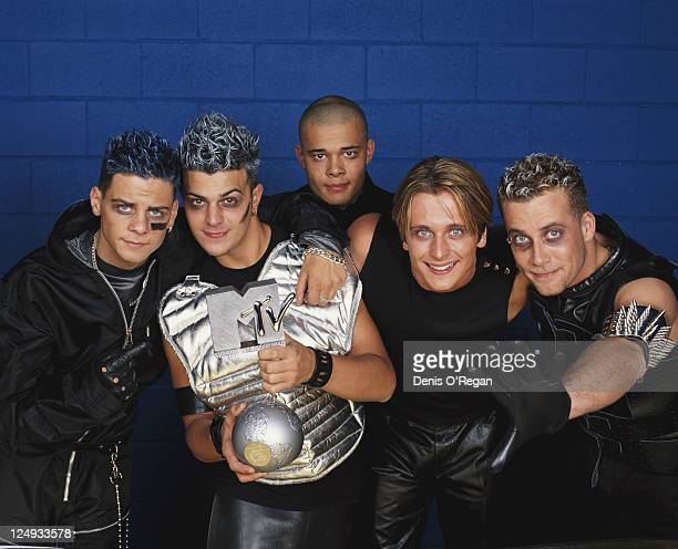 English boyband Five with their MTV Select Award at the MTV Europe Music Awards at the Fila Forum Milan 12th November 1998