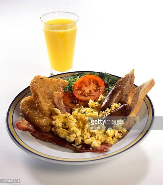 English breakfast with fresh orange juice