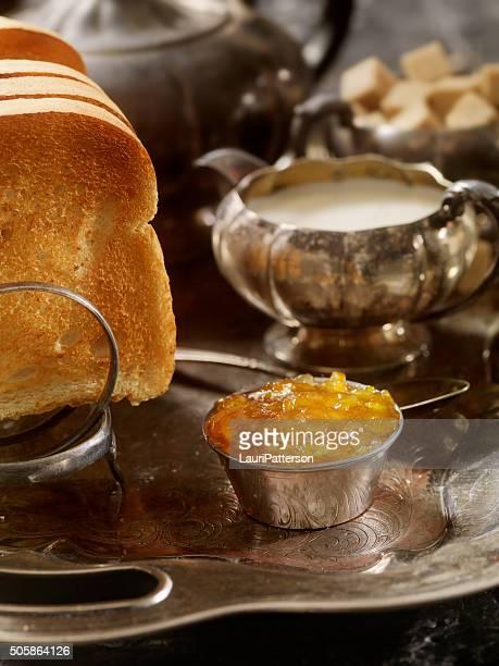 English Breakfast with Toast, Orange Marmalade and Tea