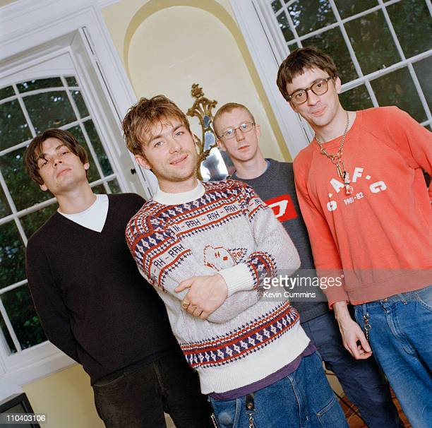 English BritPop group Blur circa 1995 Left to right bassist Alex James singer Damon Albarn drummer Dave Rowntree and guitarist Graham Coxon