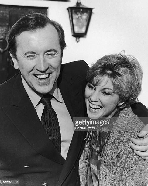 English broadcaster and satirist David Frost with his first wife English actress Lynne Frederick after their wedding night at Frost's rural retreat...