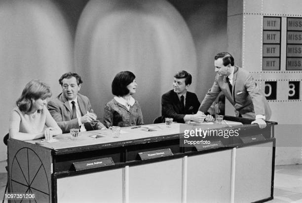 English broadcaster and television presenter David Jacobs pictured on right talking with panellists from left Jane Asher Rupert Davies Fenella...