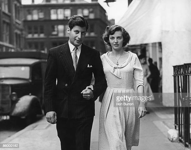 English broadcaster writer politician and chef Clement Freud in London with his fiancee actress June Flewett shortly after their engagement was...