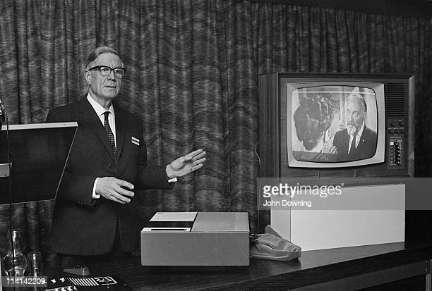 English broadcasting engineer Sir Francis McLean , demonstrating a newly-developed video recorder, 12th December 1968. A former BBC engineer, McLean...