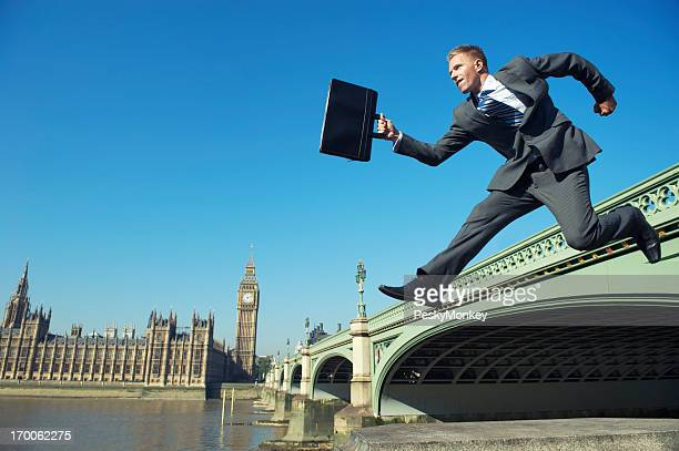 English Businessman MP Jumping at Westminster Bridge London