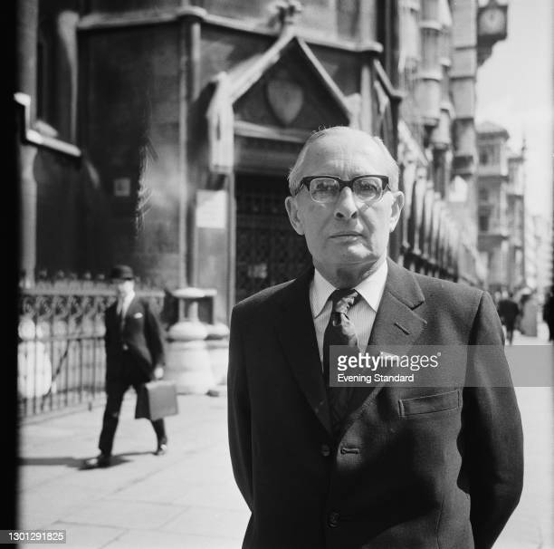 English businessman Sir Basil Smallpeice , a director of mining based conglomerate Lonrho, outside the Royal Courts of Justice in London, UK, 7th May...