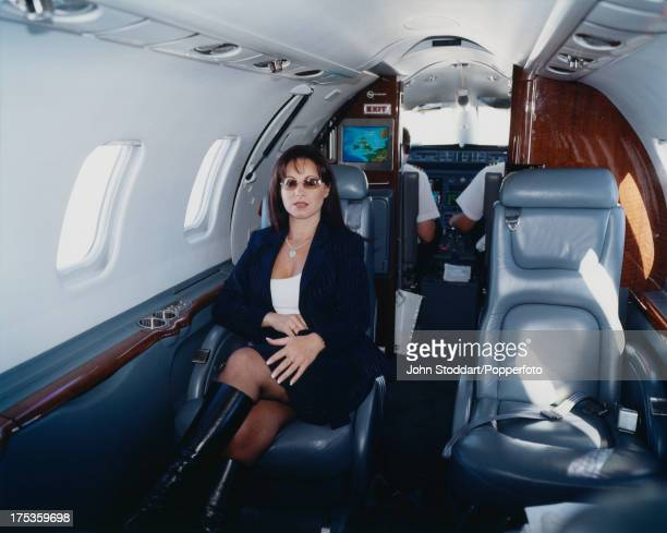 English businesswoman Jacqueline Gold Chief Executive of Ann Summers in her private aircraft circa 2000