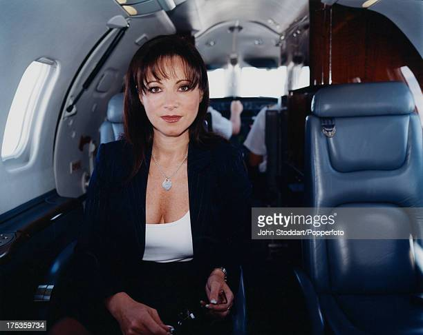 English businesswoman Jacqueline Gold Chief Executive of Ann Summers in a private aircraft circa 2000