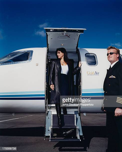 English businesswoman Jacqueline Gold Chief Executive of Ann Summers leaving her private aircraft circa 2000