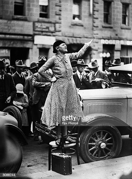 English campaigner for the causes of women suffrage pacificism and Australia's international policies Adela Pankhurst speaking in Sydney