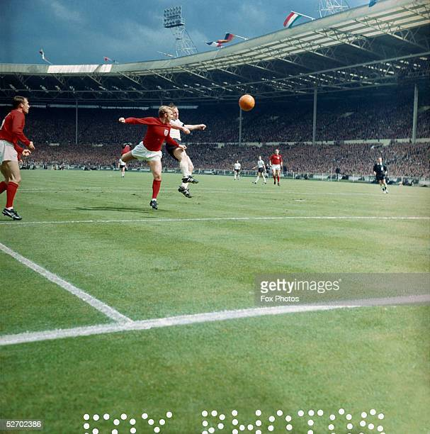 English captain Bobby Moore in action during the World Cup Final at Wembley Stadium in London 30th July 1966 England won the game against West...