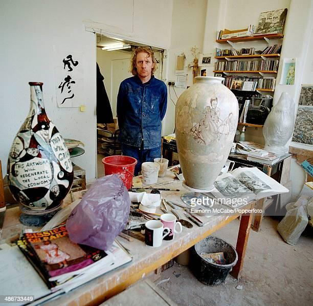English ceramic artist Grayson Perry in his studio circa 2000