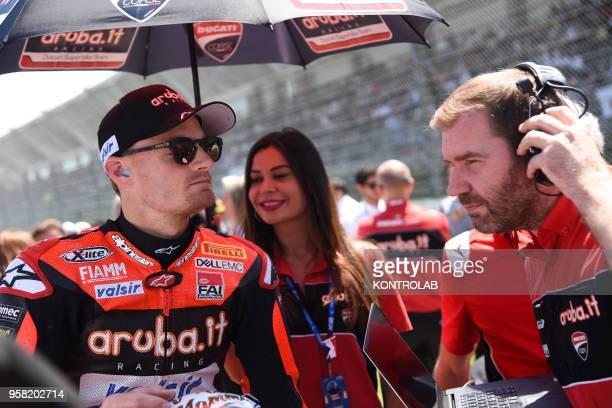 English Chaz Davies on Ducati Panigale R of Arubait Racing Ducati Team waits to starting the Race 2 of Superbike Pata Italian Round Jonathan Rea wins...