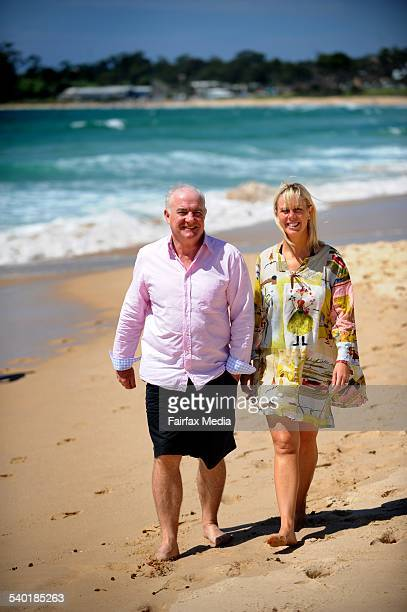 English chef Rick Stein walks along the beach at Mollymook on the NSW South Coast with his partner Sarah Burns January 6 2010 Stein owns the local...