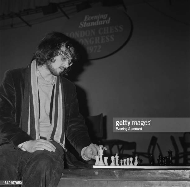 English chess champion Robert Bellin at the Evening Standard London Chess Congress in Islington, London, UK, December 1972.