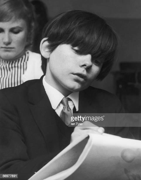 English child actor Jack Wild attends a drawing class at the Speak Stage School in London October 1968