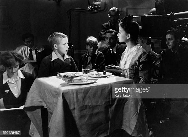 English child actor Richard Aldridge with actress Jean Simmons during a screen test for the role of the young Pip in Lean's film adaptation of...