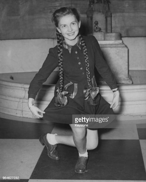 English child actress Janette Scott rehearses her curtsey at the Empire Theatre Leicester Square London 29th October 1950 She will present a bouquet...