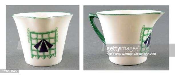 English china creamerstyle cup produced by Williams of Staffordshire embellished with the suffrage prison symbol designed by militant Sylvia...