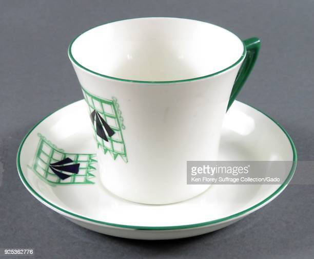 English china cup and saucer produced by Williams of Staffordshire embellished with the suffrage prison symbol designed by militant Sylvia Pankhurst...