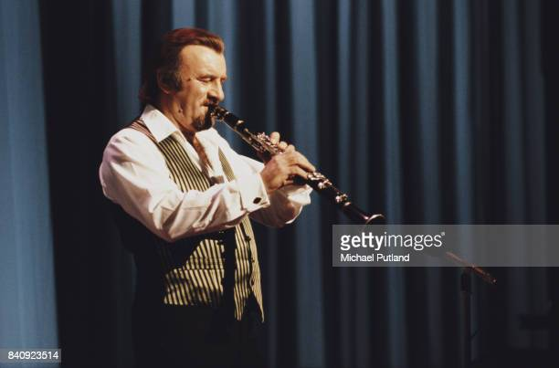 English clarinetist and vocalist Acker Bilk performs on the 'Royal Variety Show' London UK 23rd November 1981