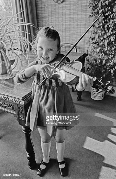 English classical violinist Tasmin Little at the age of 7, UK, 23rd March 1973.