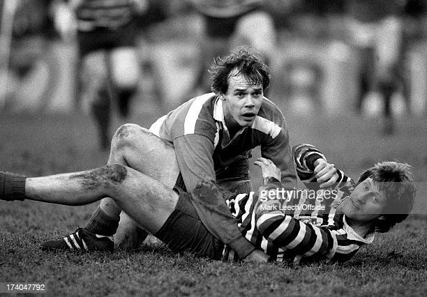 English Club Rugby knockout cup Leicester v High Wycombe Clive Woodward looks up after making the tackle on a Wycombe player