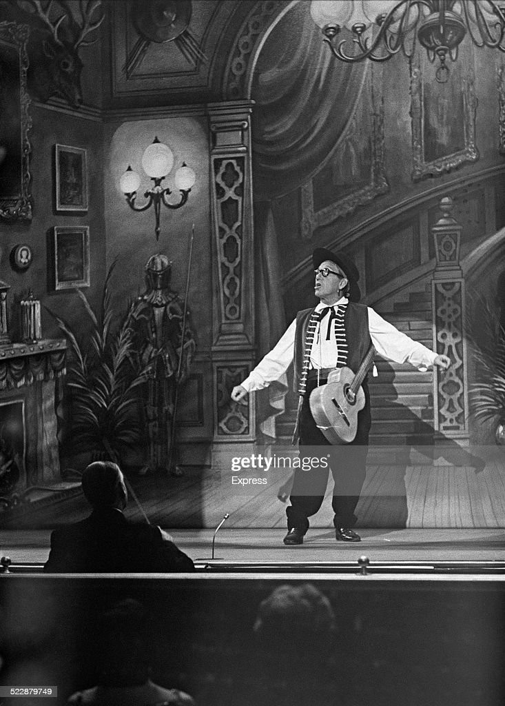 English comedian and actor Arthur Askey (1900 - 1982) on stage during the recording of a television show for Winston Curchill's 90th birthday, 8th November 1964.