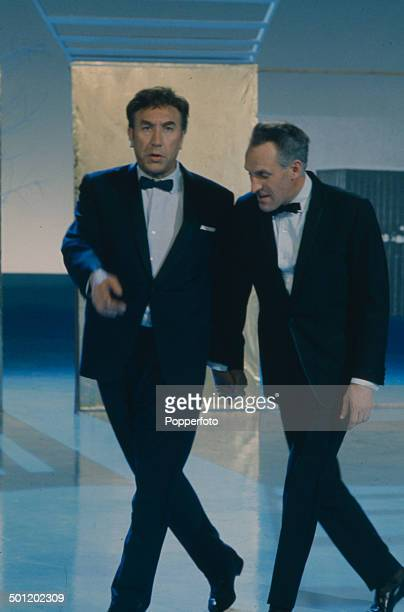 English comedian and actor Frankie Howerd performs in a sketch with Bruce Forsyth on the televsion series 'The Bruce Forsyth Show' in 1966