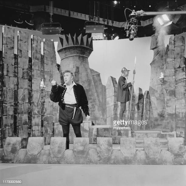 English comedian and actor, Frankie Howerd plays the role of Hamlet in a sketch with Bruce Forsyth during filming of an episode The Bruce Forsyth...