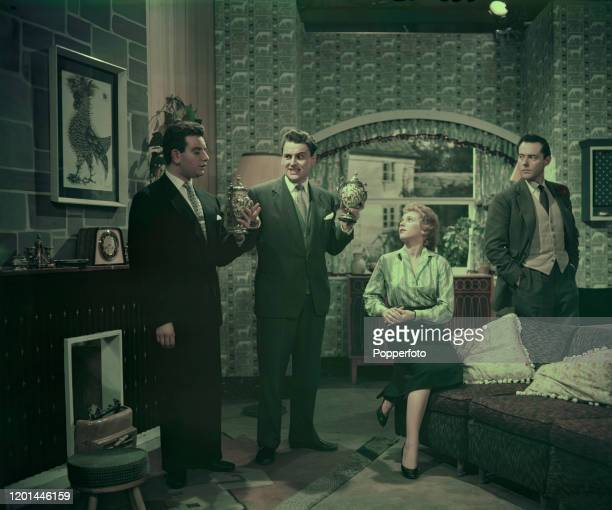 English comedian and entertainer Bob Monkhouse , 2nd from left, stars with Denis Goodwin on left, Terence Alexander on right and Billie Whitelaw in...