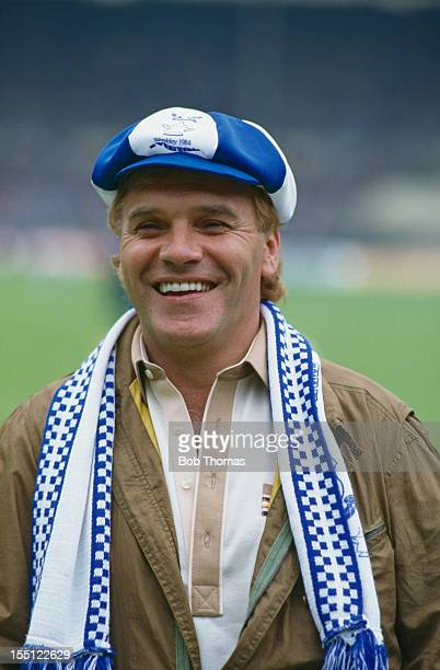 English comedian and Everton FC supporter Freddie Starr during the FA Cup Final at Wembley London 19th May 1984 Everton beat Watford 20