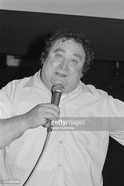 English comedian and night club owner Bernard Manning performing at the opening of the Hacienda nightclub Manchester 21st May 1982