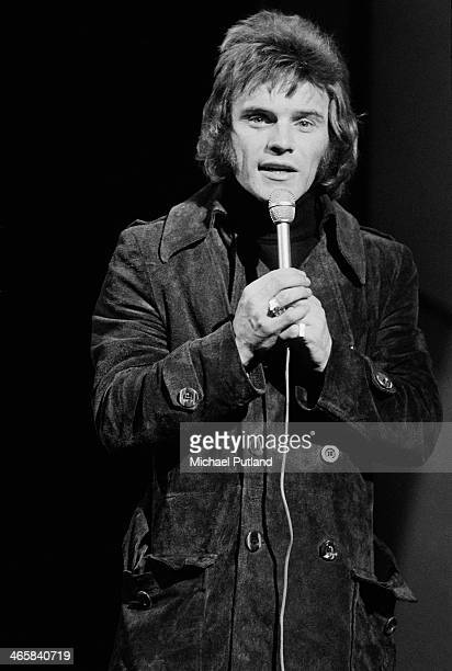 English comedian and singer Freddie Starr performing his top 10 single 'It's You' on the BBC TV music show 'Top Of The Pops' London 7th March 1974