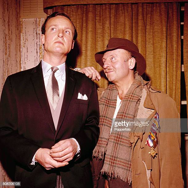 English comedian Arthur Haynes pictured with English actor Nicholas Parsons in a sketch from the television series 'The Arthur Haynes Show' in 1965
