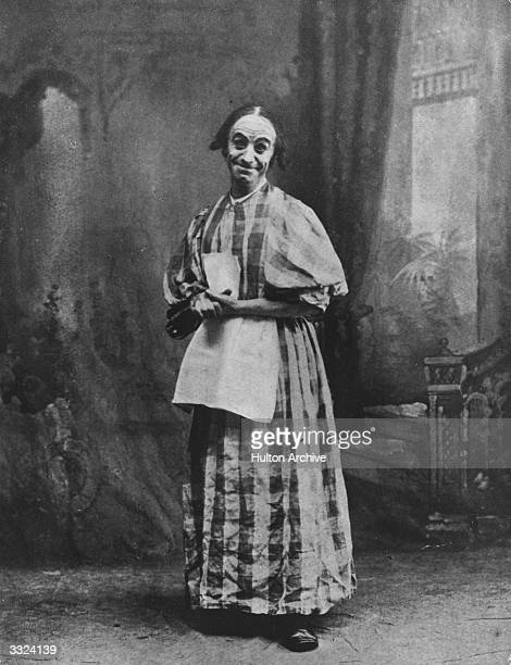 English comedian Dan Leno in a production of 'Jack and the Beanstalk' at Drury Lane Theatre London