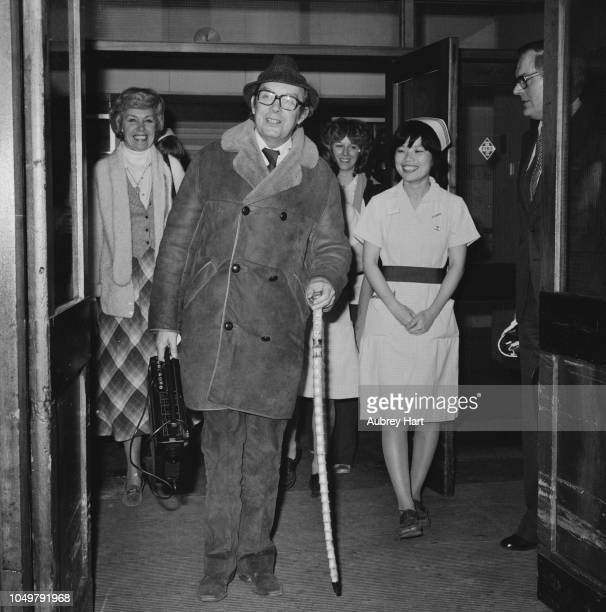 English comedian Eric Morecambe leaving the hospital after suffering an heart attack UK 28th March 1979