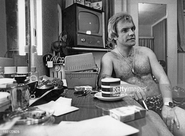 English comedian Freddie Starr in his dressing room at the Winter Gardens theatre Margate East Kent August 1977